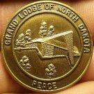 Large 32mm Solid Bronze Grand Lodge Of North Dakota Bi-Centennial Medallion~Fr/S