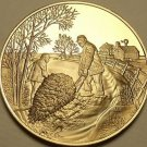Solid Bronze Proof Franklin Mint Medallion~Country Christmas~Dragging a Tree~F/S