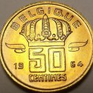 Gem Unc Belgium 1964 50 Centimes~A Helmeted Mine Worker~Excellent~Free Shipping