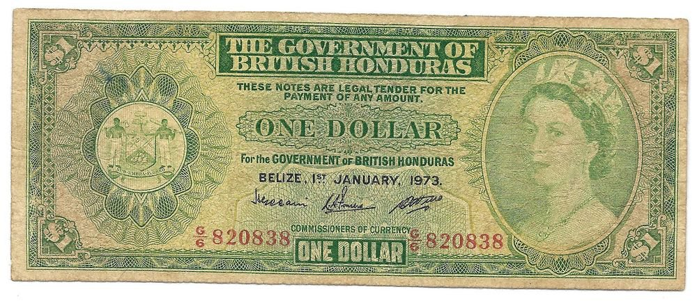Scarce British Honduras Belize 1973 Dollar~Pick 28C~Free Shipping