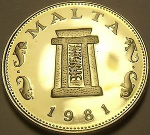 Rare Cameo Proof Malta 1981 5 Cents~Temple Of Hagar Qim~Only 1,453 Minted~Fr/Shi