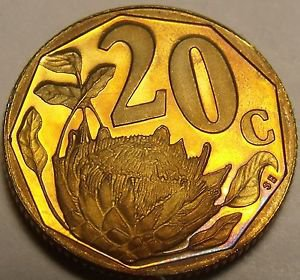 Rare Proof South Africa 1997 20 Cents~Only 3,596 Minted~Protea Flower~Free Ship
