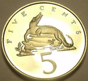Extremely Rare Proof Jamaica 1981 5 Cents~1,577 Minted~Crocodile~Free Shipping