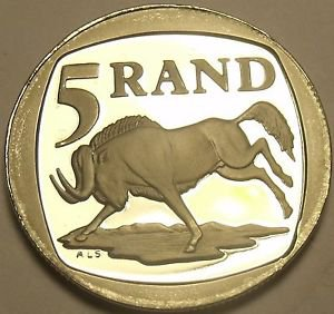 Rare Proof South Africa 1997 5 Rand~3,596 Minted~Wildebeest~Free Shipping