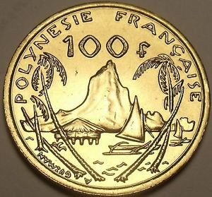 Rare Large Gem Unc French Polynesia 2003 100 Francs~200k Minted~Moorea Harbor~FS
