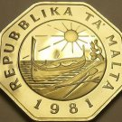 Huge Rare Proof Malta 1981 25 Cents~Only 1,453 Minted~Fantastic~Free Shipping