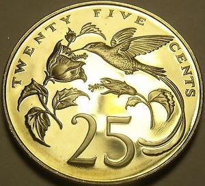 Extremely Rare Proof Jamaica 1981 25 Cents~1,577 Minted~Hummingbird~Free Ship