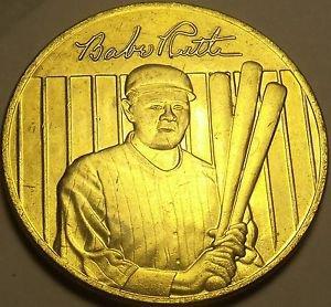 22k Gold Plated Babe Ruth World Series Lifetime Statistics Medallion~Free Ship