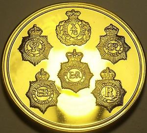 22k Gold Plated Proof Metropolitan Police London England 44.2mm Medallion~Fr/Shi