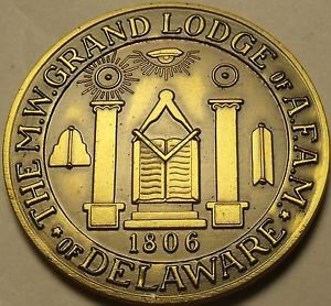 Large 38.1mm Solid Bronze Grand Lodge Of Delaware Masonic Medallion~Free Ship