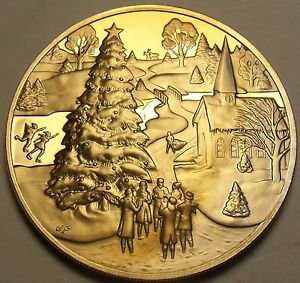Franklin Mint Solid Bronze Proof Medallion~Christmas 1971~Fantastic~Free Ship