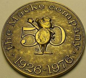 Gem Unc Solid Brass The Macke Company 50th Anniversary Medallion~1926-1976~Fr/Sh