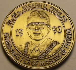 1993 Large 39.1mm Solid Bronze Grand Master Of Masons Of Florida Medallion~Fr/Sh