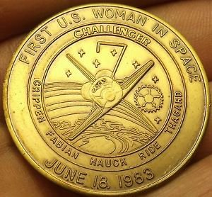 Challanger STS-7 Mission Medallion~1st U.S. Woman In Space Sally Ride~Free Ship