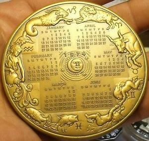 Frankiln Mint 78mm 250 Grams Solid Bronze 1974l Calander Medallion~GEM~Free Ship