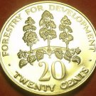 Rare Proof Jamaica 1980 20 Cents~Only 2,688 Minted~Mahoe Tree~Free Shipping