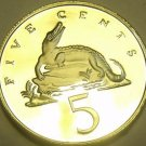 Rare Proof Jamaica 1980 5 Cents~American Crocodile~2,688 Minted~Free Shipping