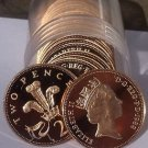 Cameo Proof Roll (20) Large Great Britain 1988 2 Pence Coins~Welsh Plume~Fr/Ship