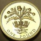 Gem Cameo Proof Great Britain 1984 Pound~Scottish Thistle~Edge Inscription~Fr/Sh