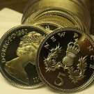 Cameo Proof Roll (20) Great Britain 1980 5 Pence Coins~Crowned Thistle~Free Ship