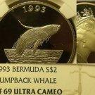 Bermuda 1993 2 Dollars NGC PF-69 Ultra Cameo~Humpback Whale~Rare~Top Grade~Fr/Sh