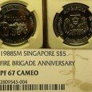 Singapore 1988 $5 Fire Brigade NGC PF-67 Cameo 100th Anniv~POP 1~Rare~Free Ship