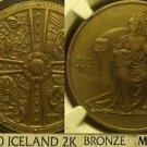 Iceland 1930 2 Kronur Althing Millennium Bronze~NGC MS-63~RARE~Free Shipping