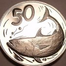 Large Proof Cook Islands 1976 50 Cents~Only 18,000 Minted~Bonito Fish~Free Ship