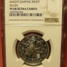 Gibraltar 1993 Silver 14 Ecus 10 Pounds NGC PF-68 UC~Knight Jumping Right~POP1
