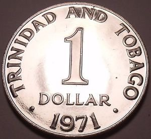 Rare Proof Trinidad & Tobago 1971 Dollar~12,000 Minted~Only Year This Type~Fr/Sh