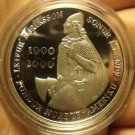 Iceland 2000 1,000 Kronun Silver Proof~Leif Ericsson Millenium~150,000 Minted~FS