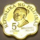 Philippines 1975 5 Sentimos Proof~37,000 Minted~Scalloped~Melchora Aquino~Fr/Shi