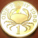 Extremely Rare Cameo Proof Guernsey 1988 Penny~2,500 Minted~Edible Crab~Free Shi