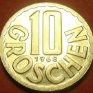 Rare Proof Austria 1968 10 Groschen~Only 16,000 Minted~Imperial Eagle~Free Ship