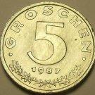 Austria 1987 5 Groschen Proof~Austrian Shield On Breast~Zinc~42,000 Minted~Fr/Sh