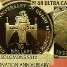 Solomons 1992 $10 Coronation Anniversary NGC PF-68 UC~Population-1~Free Ship