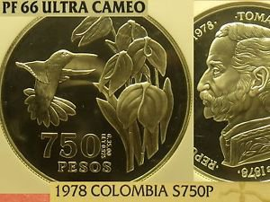 Colombia 1978 750 Pesos~Conservation~Hummingbird~NGC Proof-66 UC~3,100 Minted~FS
