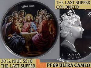 Niue 2012 $10~The Last Supper Colorized~RARE 500 Minted~NGC PF69 UC~Highest~5oz