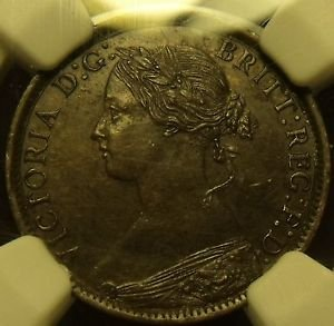 Great Britain 1860 Farthing Toothed Borders NGC AU Details~Enviromental Damage~