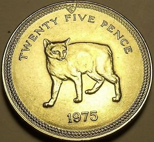 Gem Unc Isle Of Man 1975 25 Pence~Manx Cat~Rare 35,000 Minted~Free Shipping