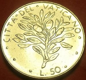 Rare Gem Unc Vatican 1972 50 Lire~Olive Branch~Only 700,000 Minted~Free Shipping