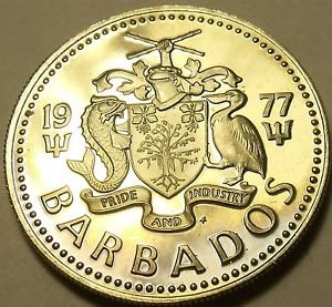 Rare Proof Barbados 1977 25 Cents~Sugar Mill~Only 5014 Minted~Sugar Mill~Free Sh
