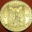 Rare Unc Vatican 1950 10 Lire~Holy Year~Procession Thru The Holy Year Door~FR/Sh