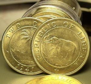 Rare Gem Unc Roll (20) Liberia Large 1941 2 Cent Coins~Elephant~Fantastic~Fr/Shi