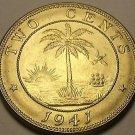 Liberia 1941 2 Cents Gem Unc~Elephant Coin~Palm Tree~Rare 810,000 Minted~Free Sh