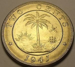 Liberia 1941 2 Cents Gem Unc~Elephant Coin~Palm Tree~Rare 810,000 Minted~Free Sh