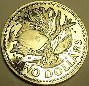 Rare Proof Barbados 1976 2 Dollars~12k Minted~10th Anniversary~Staghorn Coral~FS