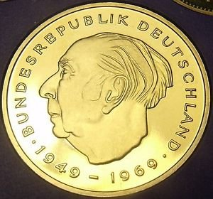 Germany 1976-J 2 Mark Proof~43,000 Minted~Theodor Heuss~Free Shipping