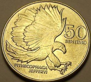 Philippines 1986 50 Sentimos~The Monkey-Eating Eagle Pithecophaga Jefferyi~Fr/S