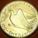 Vatican 1972 100 Lire Gem Unc~Dove In Flight With Olive Branch~Free Ship